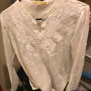 Ivory Embroidered Flared Sleeves Top